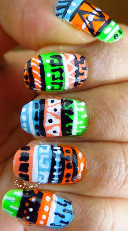 Neon Tribal/Aztec Nails nail art by Madhu DenDiva