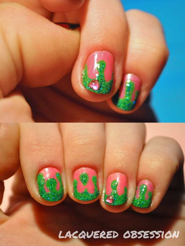 Green Drip Heart nail art by Lacquered Obsession