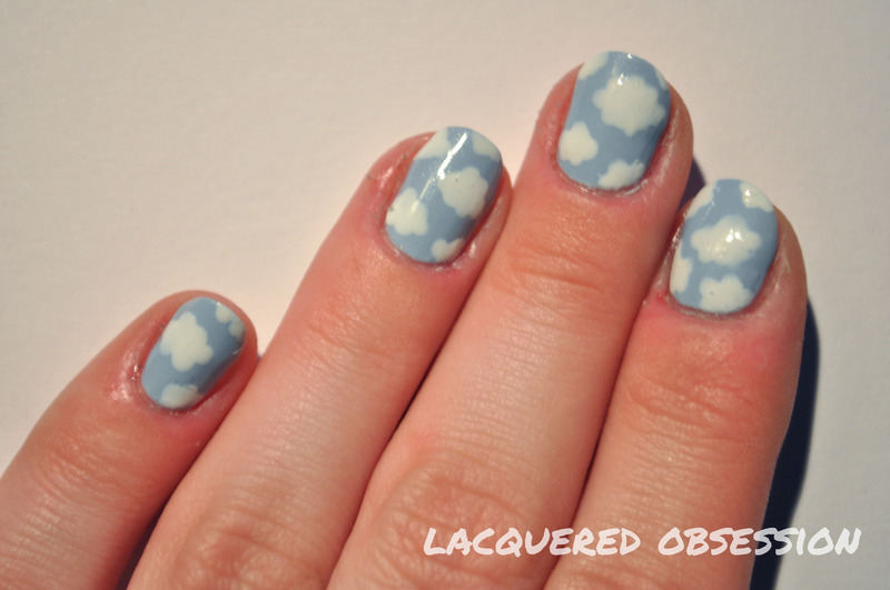 Blue Sky White Clouds nail art by Lacquered Obsession