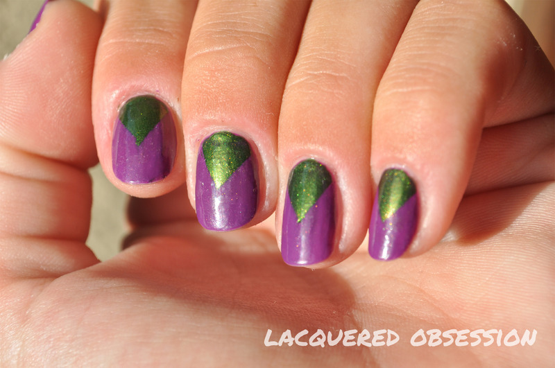 Triangles nail art by Lacquered Obsession