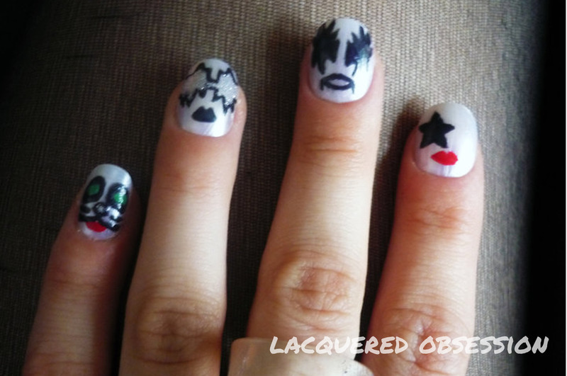 KISS Faces nail art by Lacquered Obsession - Nailpolis: Museum of ...