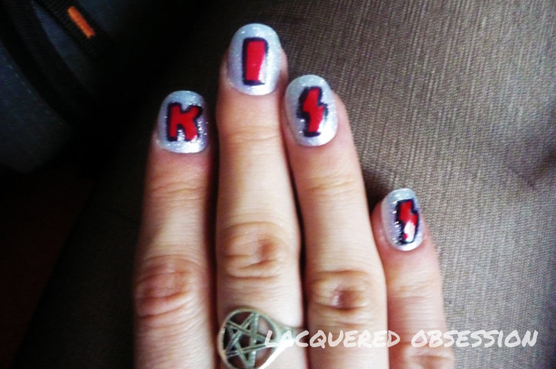KISS Logo nail art by Lacquered Obsession