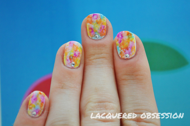 Spring Watercolor nail art by Lacquered Obsession