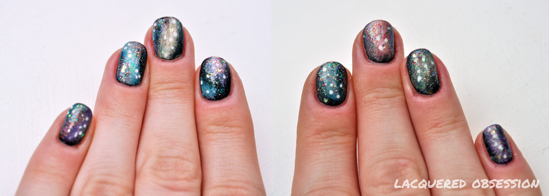 Galaxies II nail art by Lacquered Obsession
