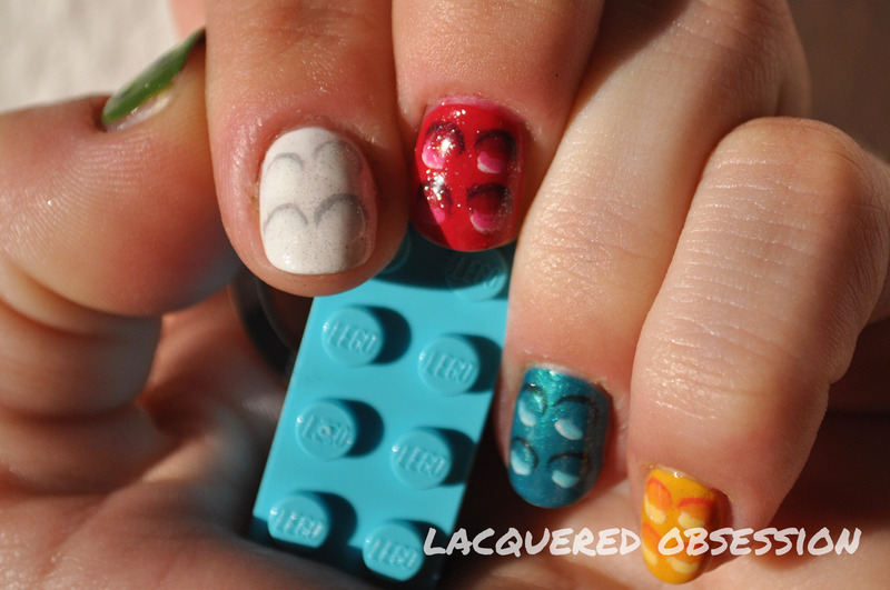LEGO Bricks nail art by Lacquered Obsession