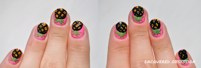 Pink Pineapples nail art by Lacquered Obsession