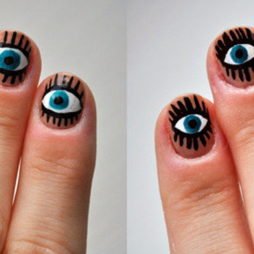 Eyes nail art by Lacquered Obsession