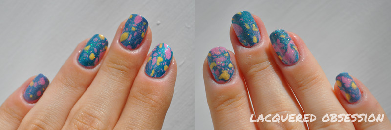 Water spotted nail art by Lacquered Obsession