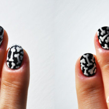 Bones nail art by Lacquered Obsession
