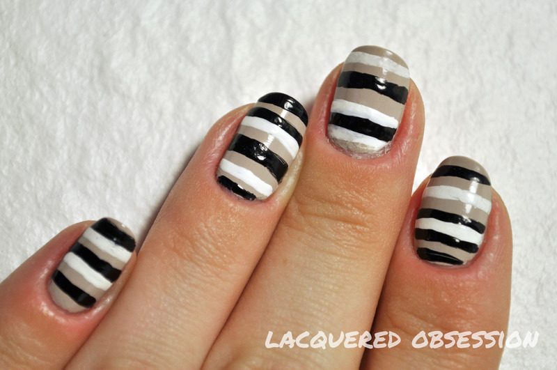 Stripes nail art by Lacquered Obsession