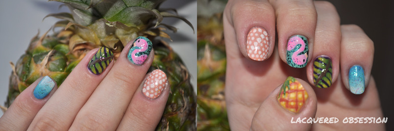 Crazy Tropical Mix nail art by Lacquered Obsession