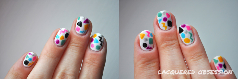 80s Vibe nail art by Lacquered Obsession
