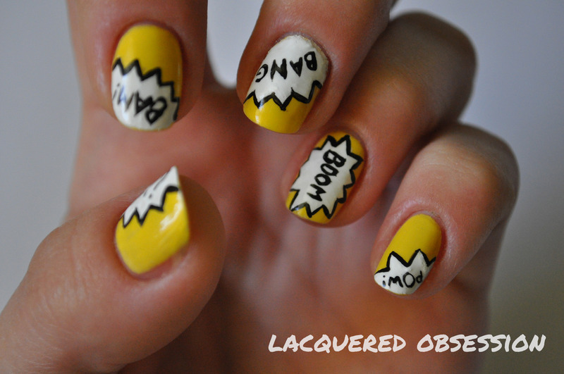 Boom Pow nail art by Lacquered Obsession