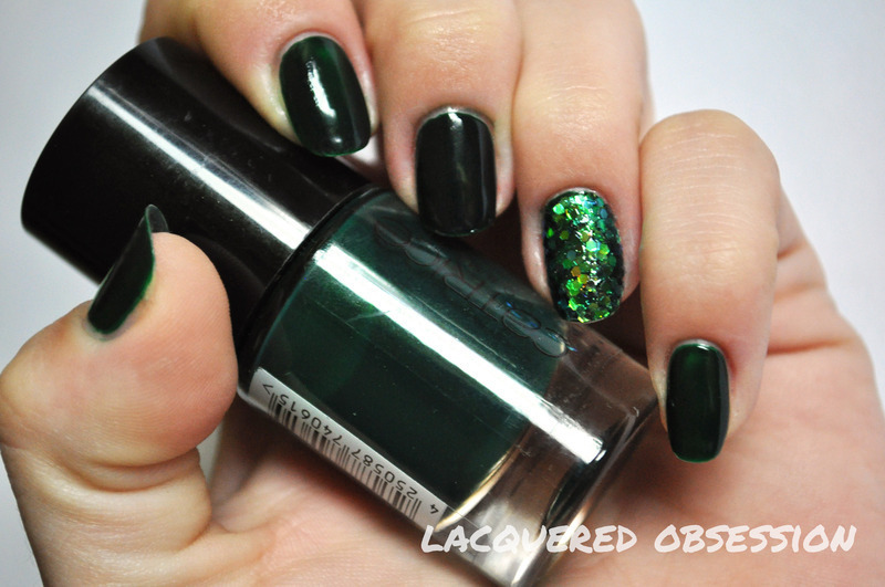 Green Moss nail art by Lacquered Obsession