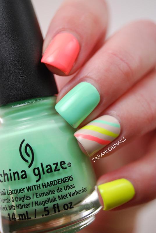 Neon Stripe Nails! nail art by Sarah S