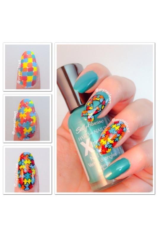 autism awareness nail art by mynailnart