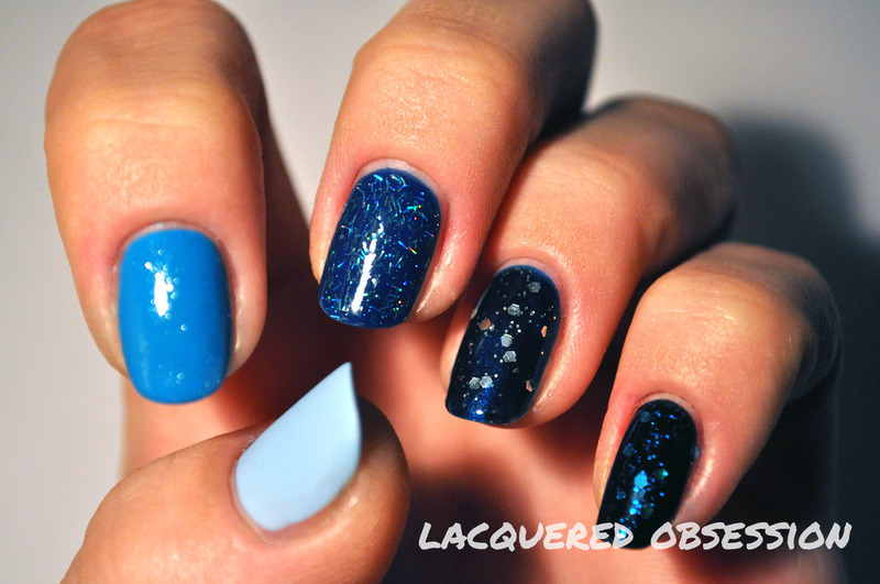 Blue Ombre Craziness nail art by Lacquered Obsession