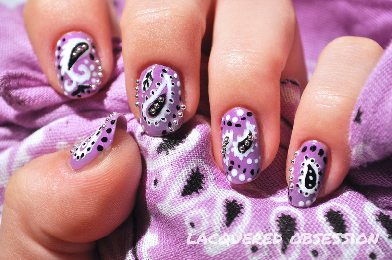 My Purple Bandana nail art by Lacquered Obsession