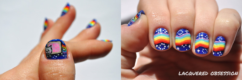 Nyan Cat nail art by Lacquered Obsession