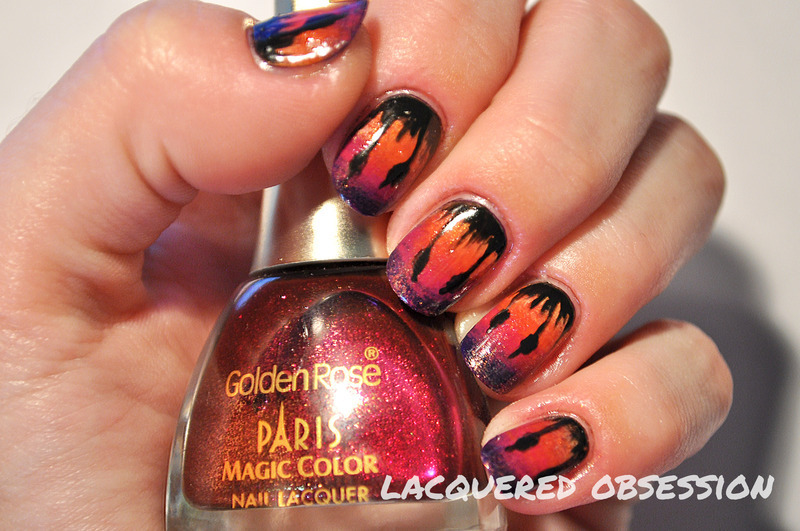 Sunset  nail art by Lacquered Obsession