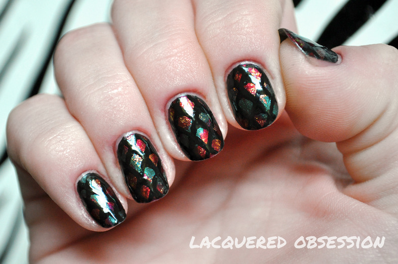 Snakeskin nail art by Lacquered Obsession