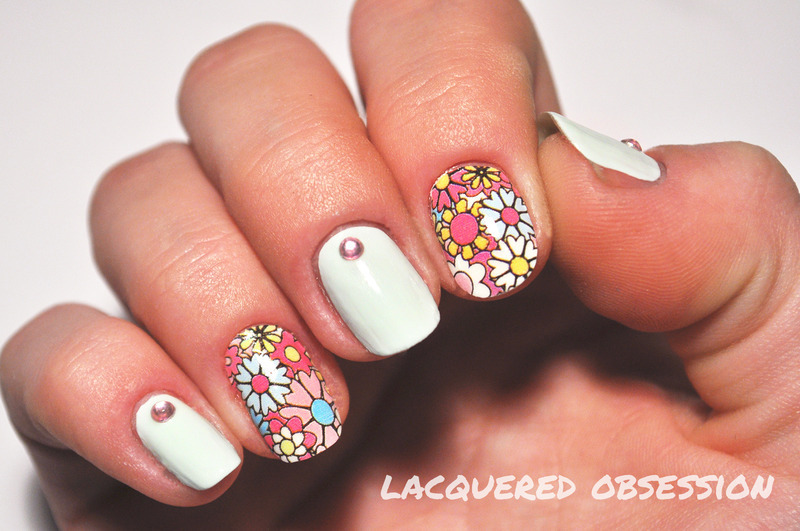 Flower Power nail art by Lacquered Obsession