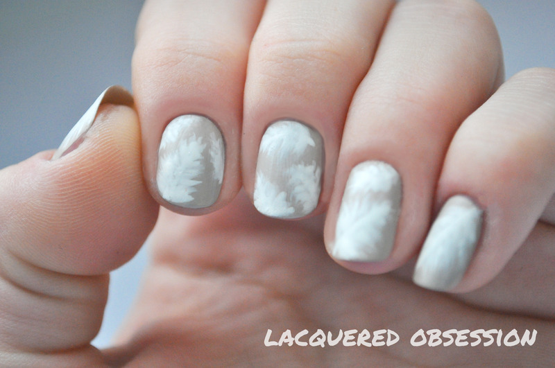 White Matte Feathers nail art by Lacquered Obsession