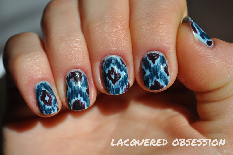Blue Aztec nail art by Lacquered Obsession