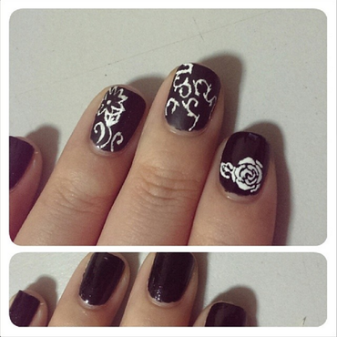 Monochrome Garden nail art by JingTing Jaslynn