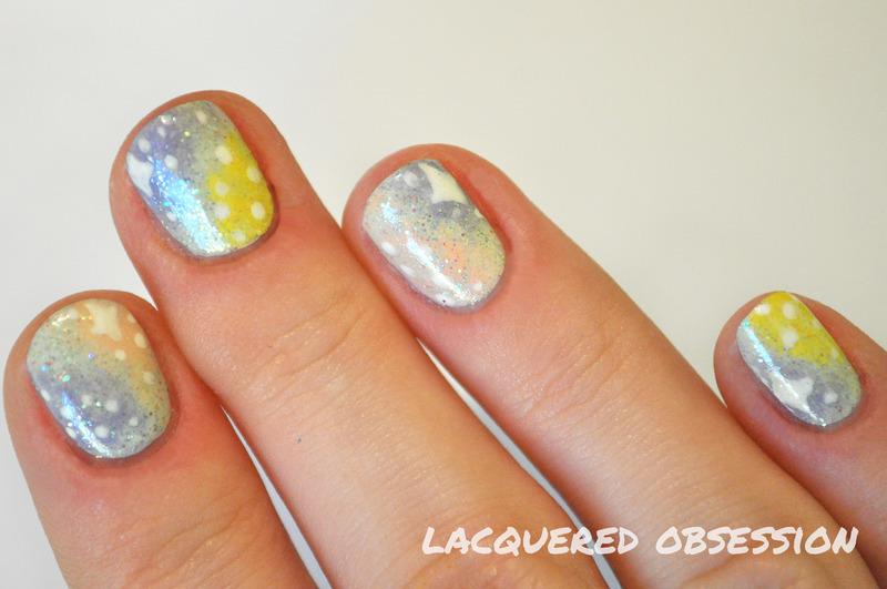 Unicorn Poo nail art by Lacquered Obsession