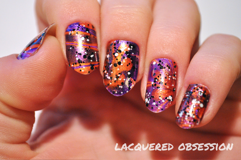 Haloween Watermarble nail art by Lacquered Obsession