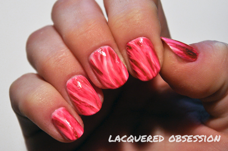 Pink Fur nail art by Lacquered Obsession