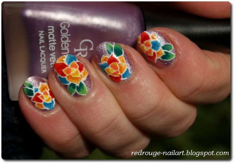 Rainbow flowers  nail art by RedRouge