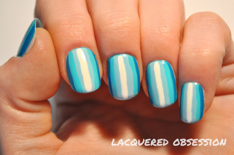 Blue Stripes nail art by Lacquered Obsession