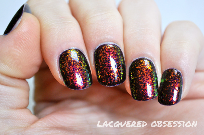Flakies nail art by Lacquered Obsession