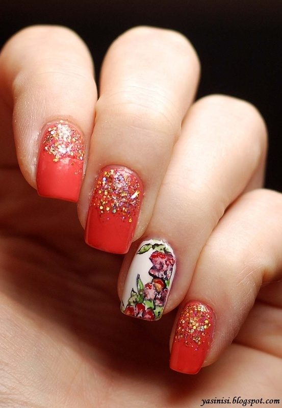 Aquarelle roses nail art by Yasinisi