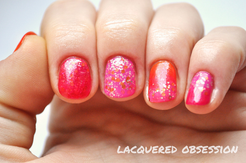 Spring Pink and Orange nail art by Lacquered Obsession