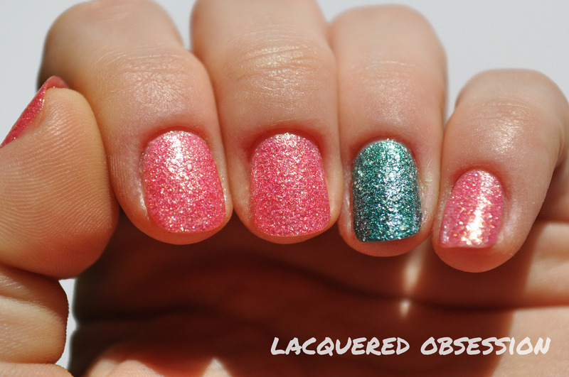 Colored sands nail art by Lacquered Obsession