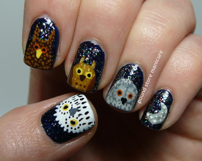 OWLS! nail art by Pound Store Manicure