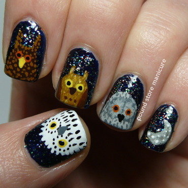 OWLS! nail art by Pound Store Manicure