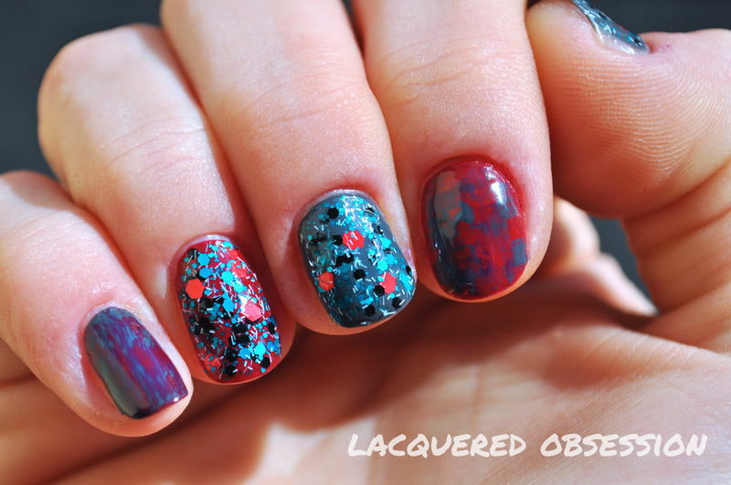 Grunge confetti nail art by Lacquered Obsession