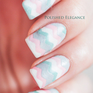 Pastel Chevrons nail art by Lisa