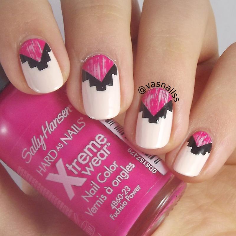 Pink Tribal nail art by  Vanesa