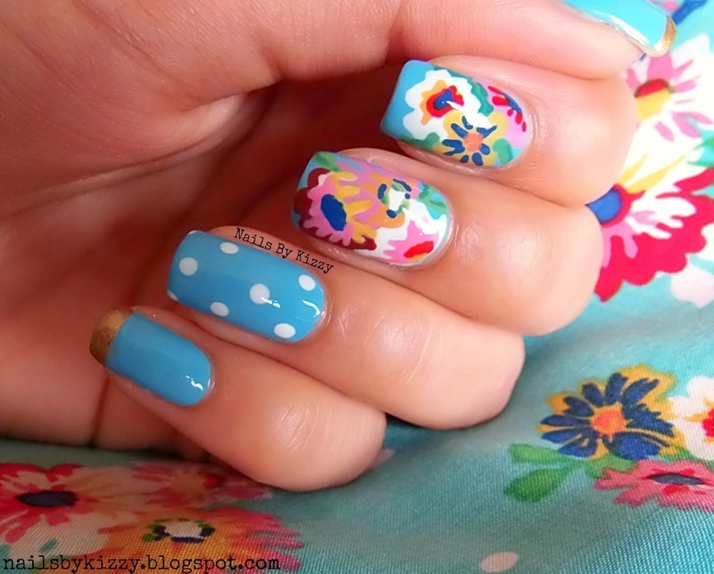 Floral nails to match OOTD nail art by Kizzy