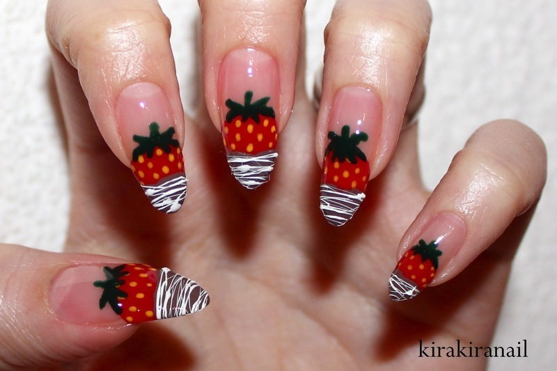 Chocolate Dipped Strawberries nail art by Kira Kira
