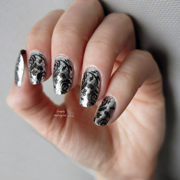 Chrome with black lace nail art by simplynailogical