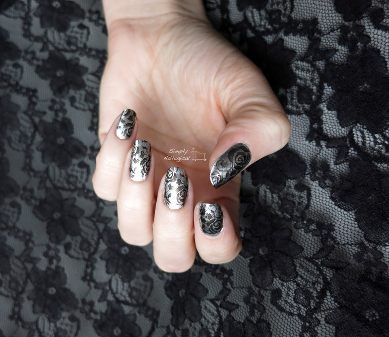 Black lace over chrome nail art by simplynailogical