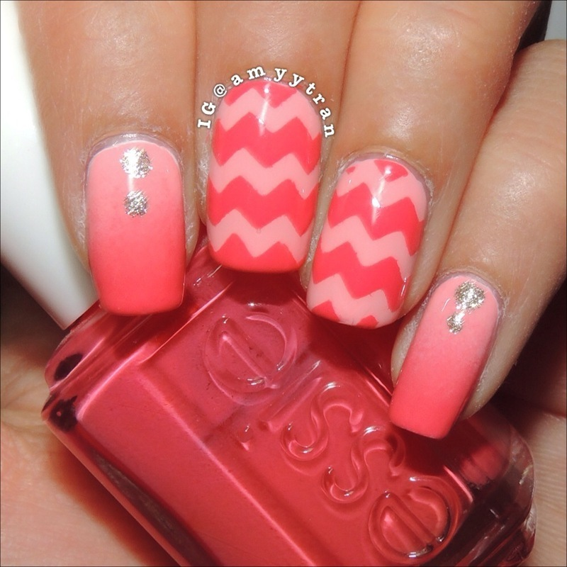 Chevron and Gradient Nails nail art by Amy