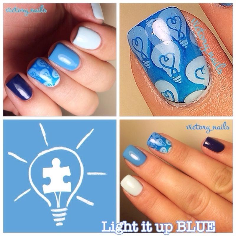 Blue ombré w. lightbulbs -AUTISM awareness nail art by Nicole