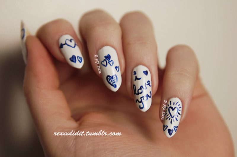Love Doodles nail art by Robin